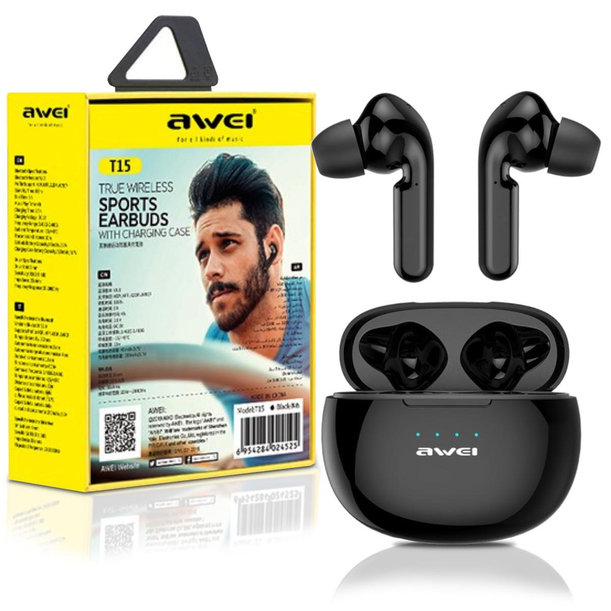 Fone de Ouvido Bluetooth 5.0 Tws Awei T15