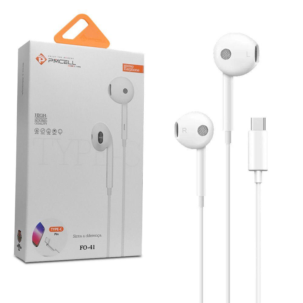 Fone de Ouvido c/ Entrada Tipo-c e Controlador de volume Pmcell FO-41 Branco