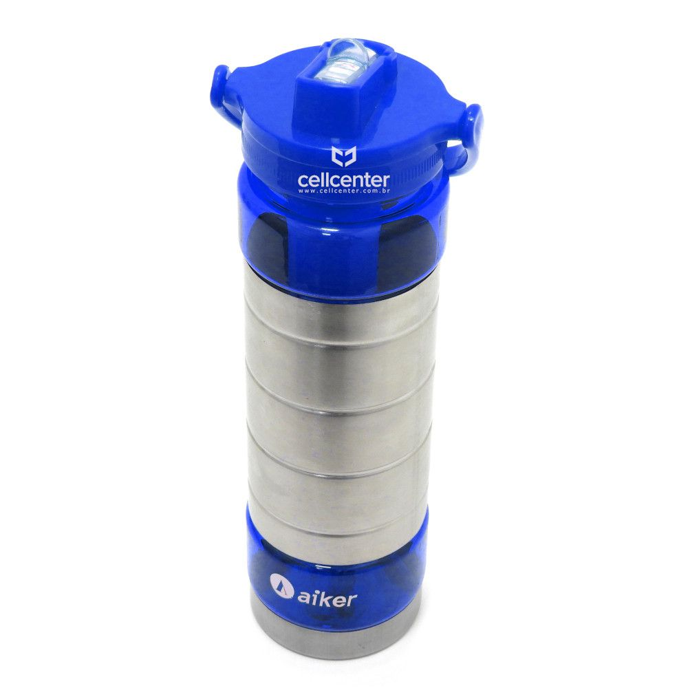Garrafa de água Esportiva Squeezer 600Ml Com Tubo de Gelo Aiker AK-7004