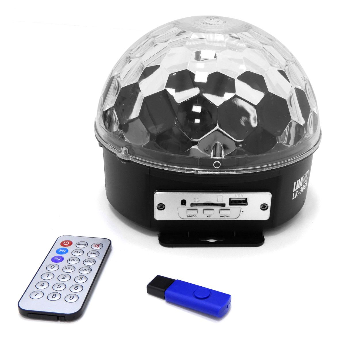 Globo Magico Led De Cristal 18 Watts Rgb Mp3 Controle Xtrad XD-660