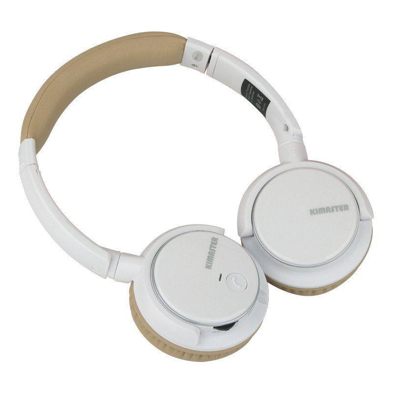 Headphone Fone Bluetooth Kimaster K1/ Kb1 Fm Branco e Bege