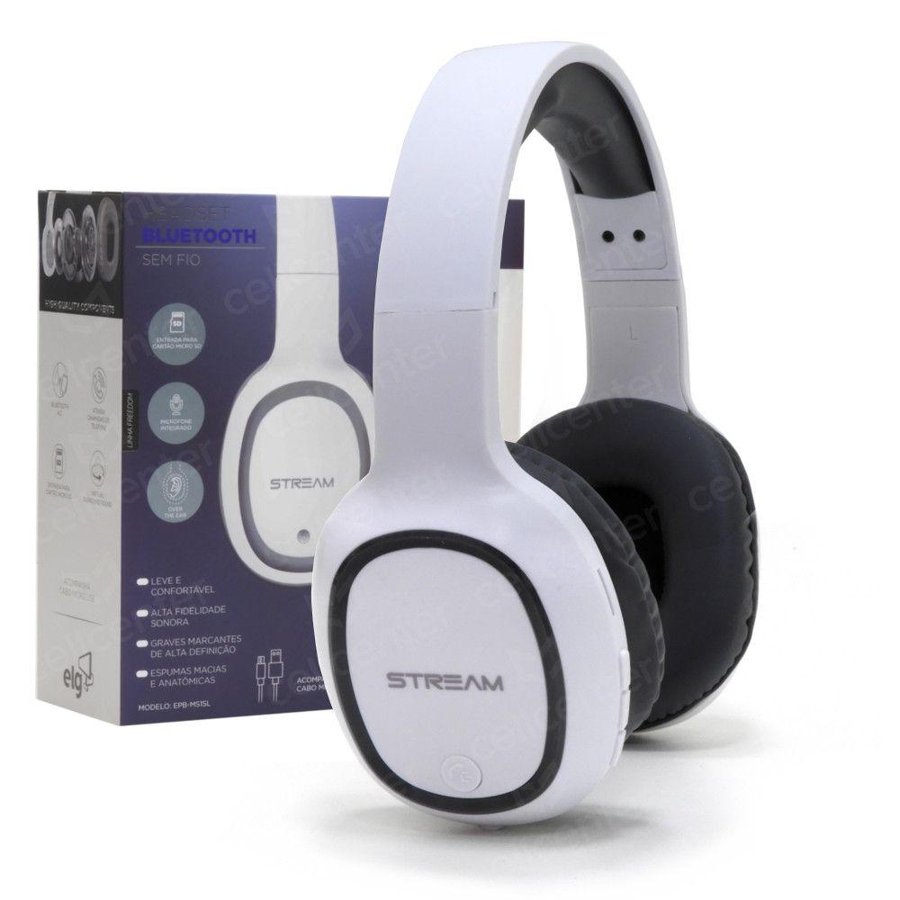 Headset Bluetooth C/ Microfone - Entrada Micro SD - C/ Cabo Micro USB - Branco/Cinza - EPB-MS1SL - ELG