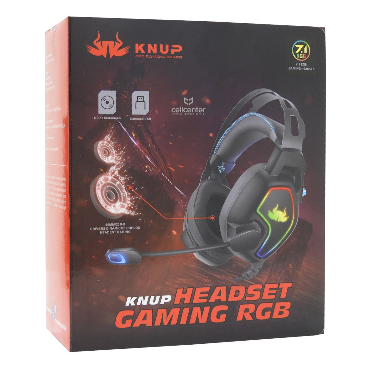 Headset Fone De Ouvido Gamer 7.1 USB LEDs Knup Pc Kp-487