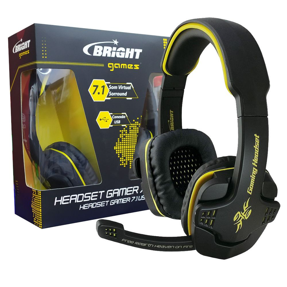 Headset Gamer Bright, 7.1 Som Surround, Drivers 40mm - 0354
