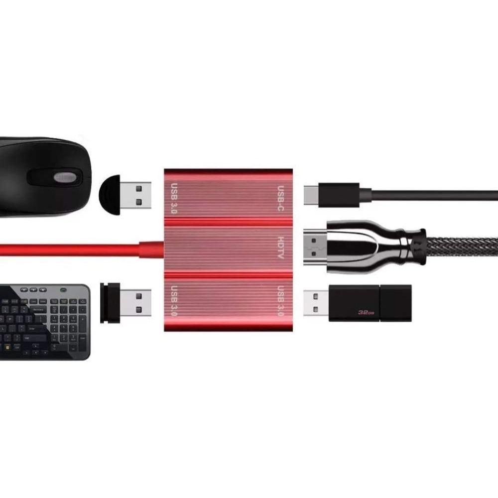 HUB Adaptador Tipo C 5 em 1 3xUsb 3.0 USB-C HDMI H'Maston Original
