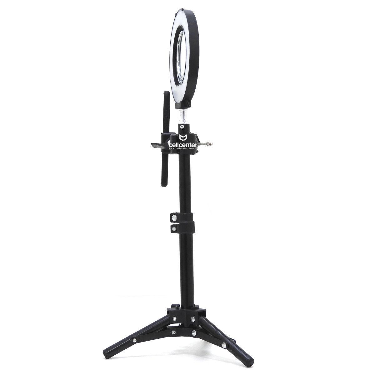 Iluminador Ring Light Bicolor Luz de LED 15cm com Espelho Duplo Tripé e Suporte para Celular