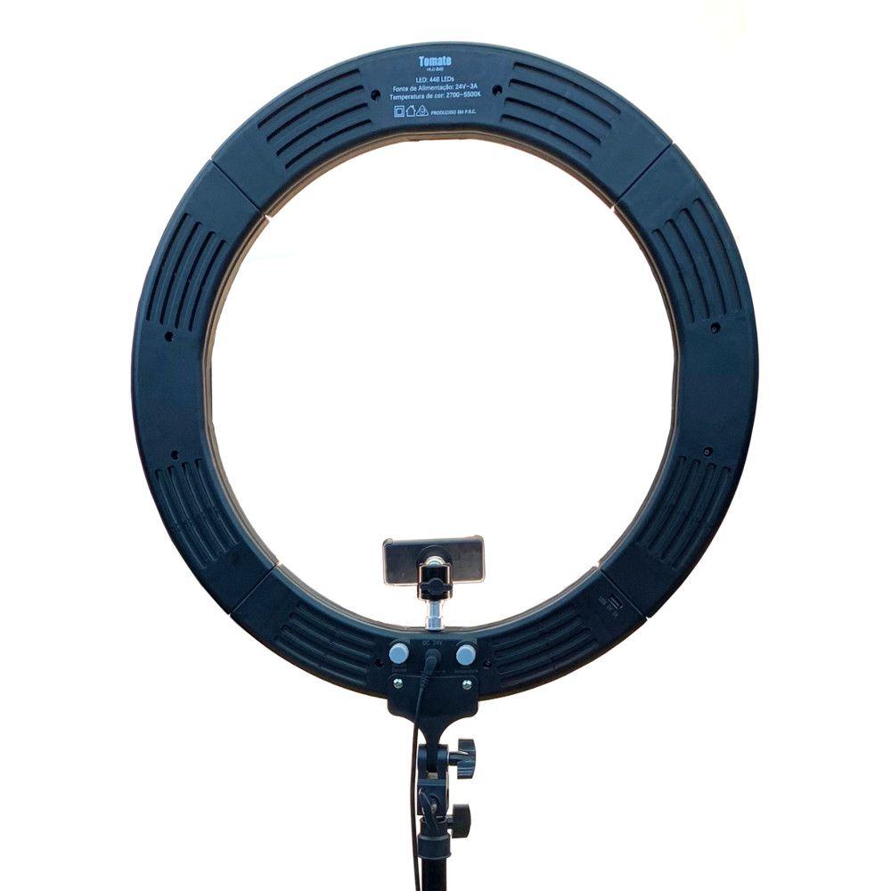 Iluminador Led Ring Light Bicolor 80w com tripe 448 Leds Tomate MLG-048