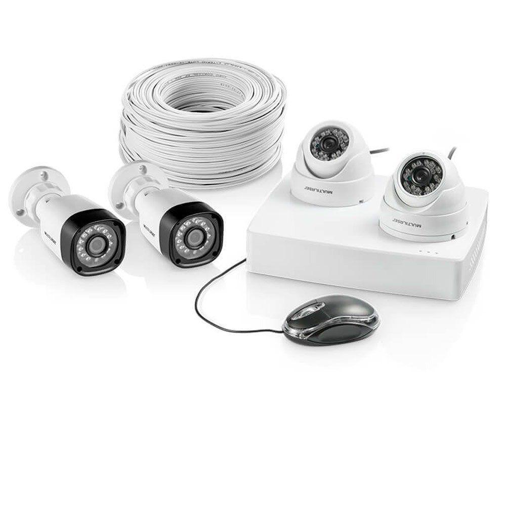 Kit Dvr 4 Canais+Cameras, 2 Dome e 2 Bullet 100 Metros De Cabo Rf-4mm SE-118