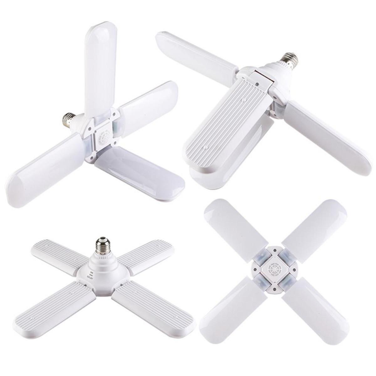 Lâmpada Led 45W Pétalas Dobrável Ajustável Fan Blade Led Bulbo Leitosa E27 Bivolt Branco Frio