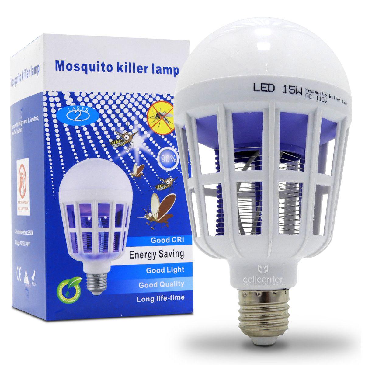 Lâmpada Led Mata Mosquito Insetos Pernilongo Moscas 15w 2 modos