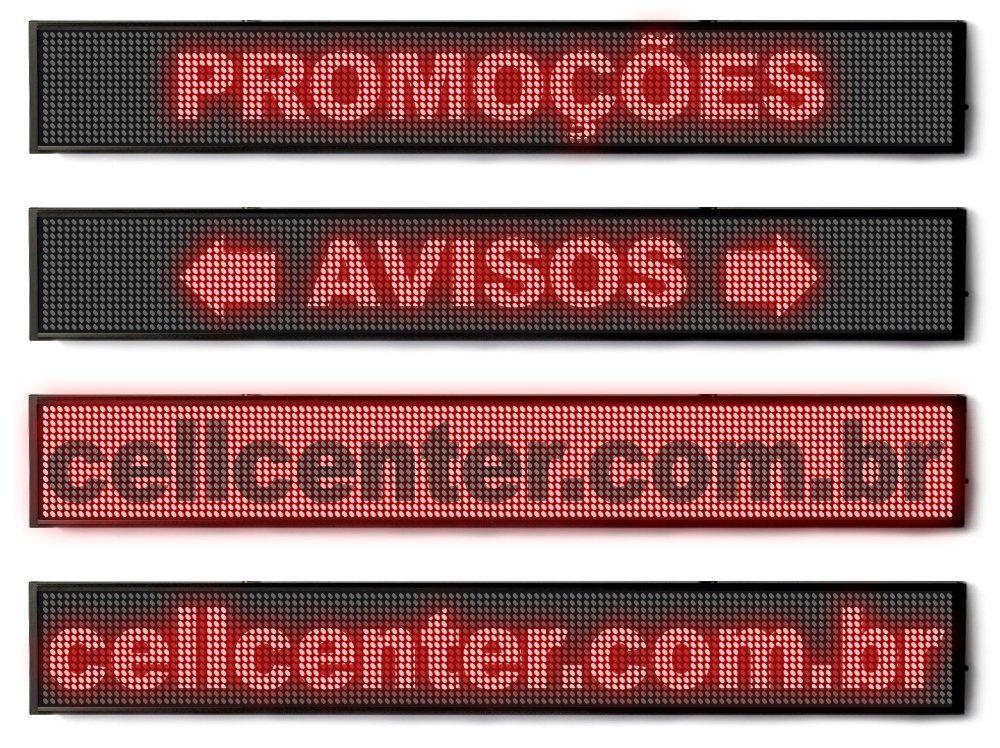Letreiro Led Painel Monocromático Display Promoções 100 X 20 Vermelho