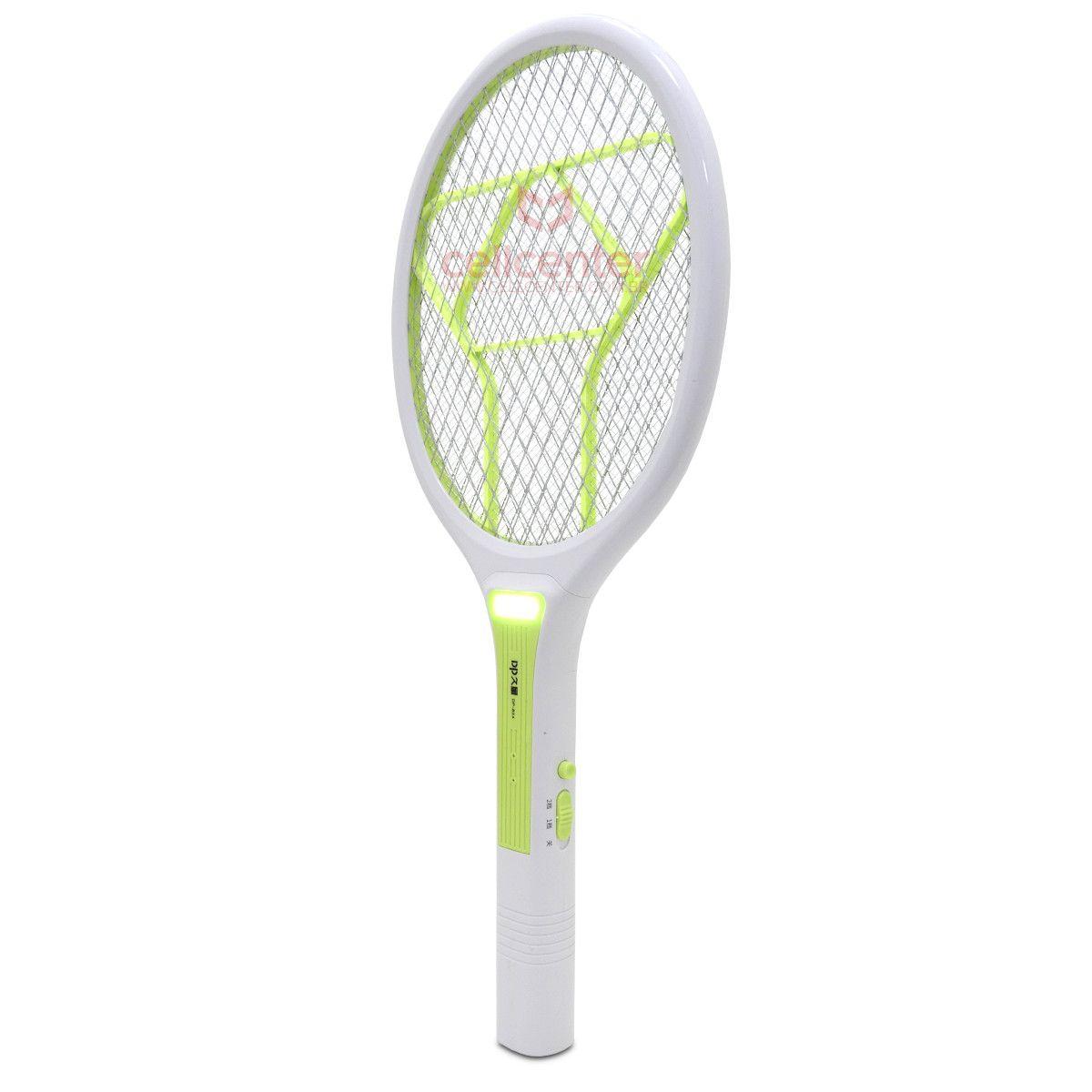 Mata Moscas e Mosquito Raquete Elétrica com Bateria Recarregável Luz LED DP-824