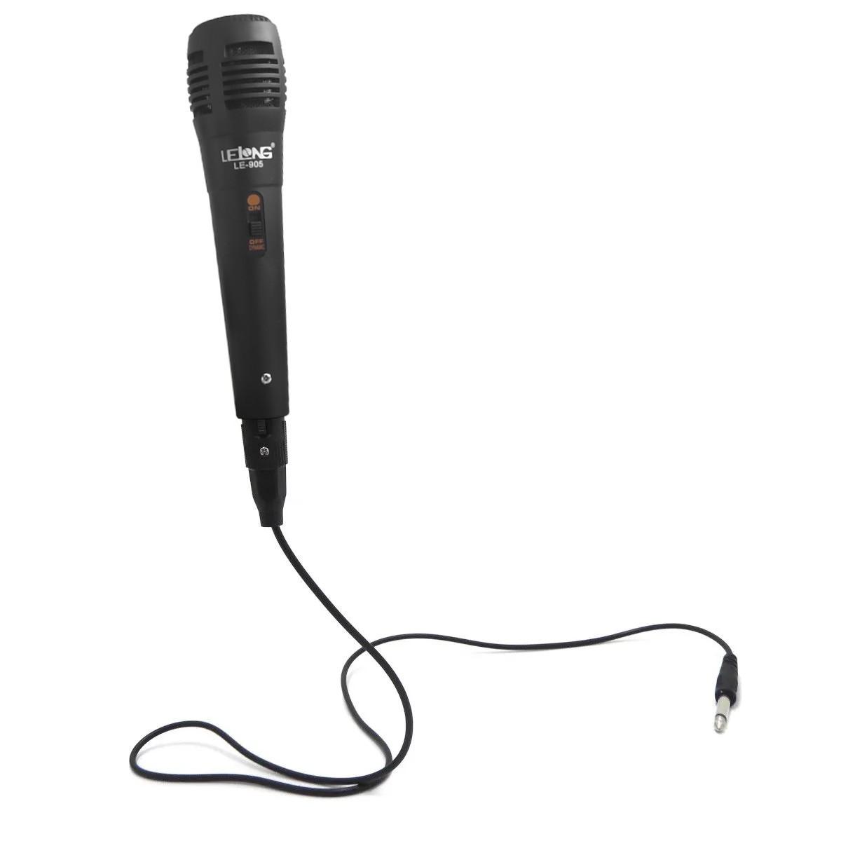 Microfone com Fio 2,5m P10 Para Karaoke Ótima Qualidade