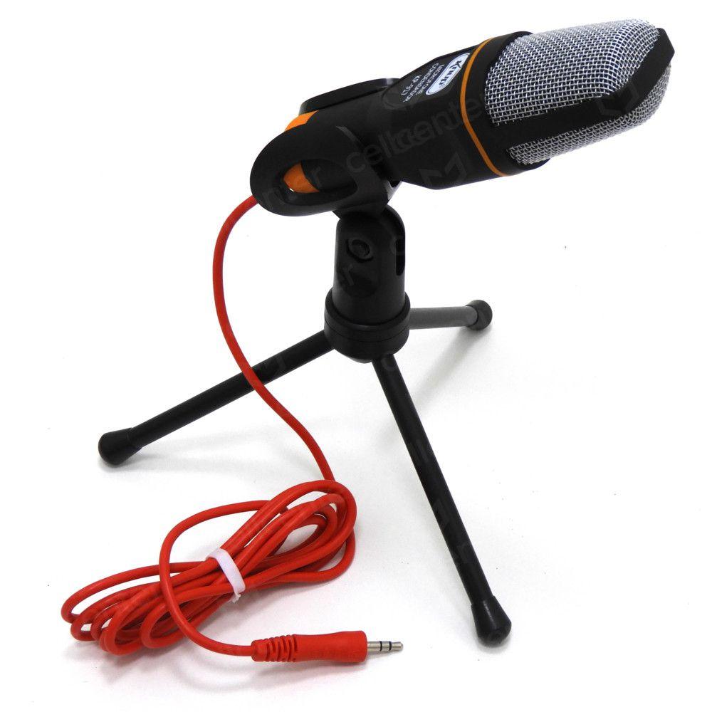 Microfone Condensador de Mesa Com Tripé e cabo 1,80m P2 Knup Kp-917