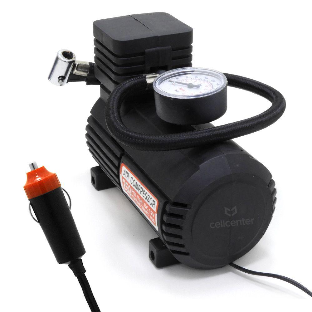 Mini Compressor de Ar 12v 250psi com Manômetro para Pneus e Infláveis Barcelona BAR-51265