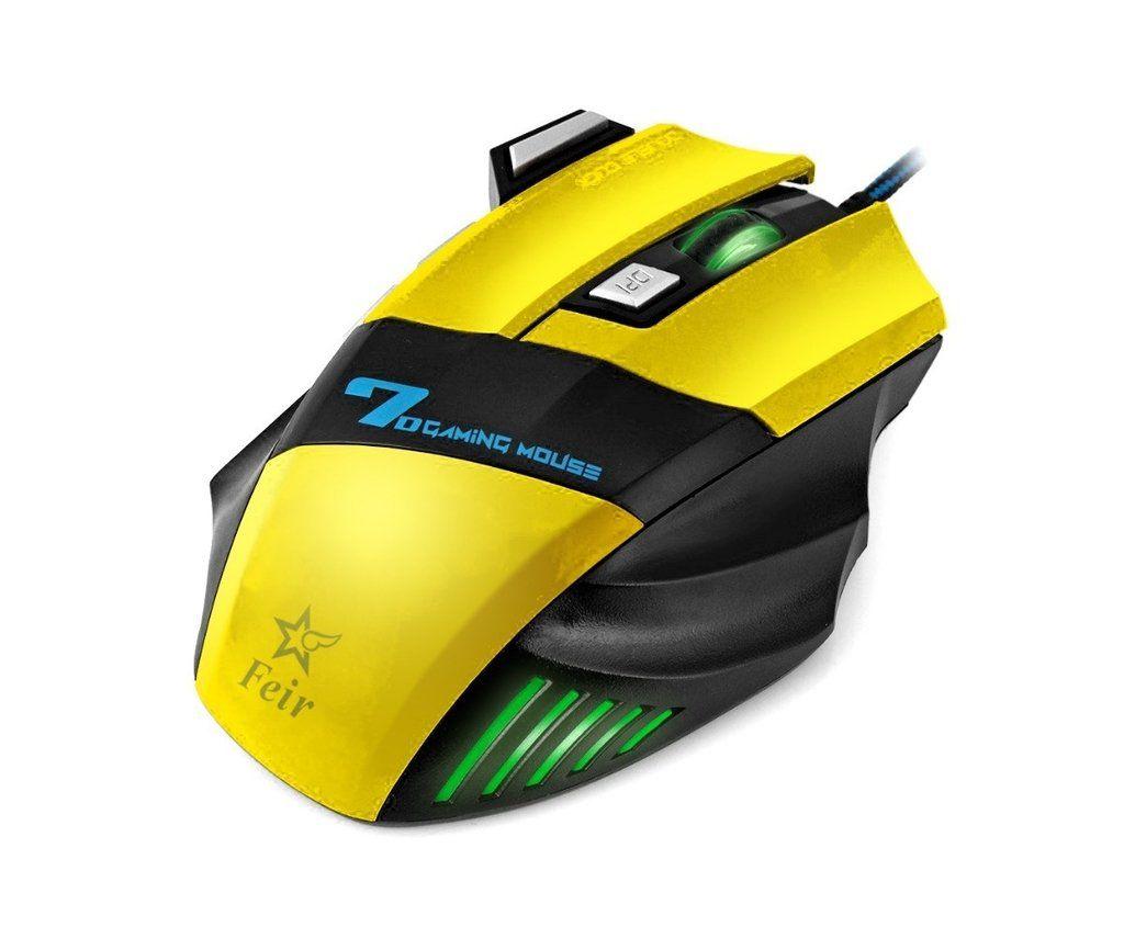 Mouse Gamer 7 Botões 2400 Dpi Gaming Plug & Play Feir Fr-404 Amarelo