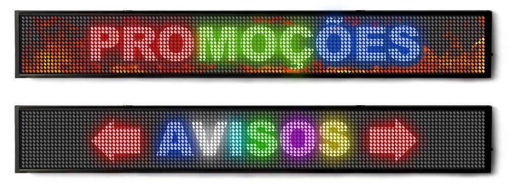 Painel Letreiro Led 100 X 20cm Display Colorido RGB SL1021C