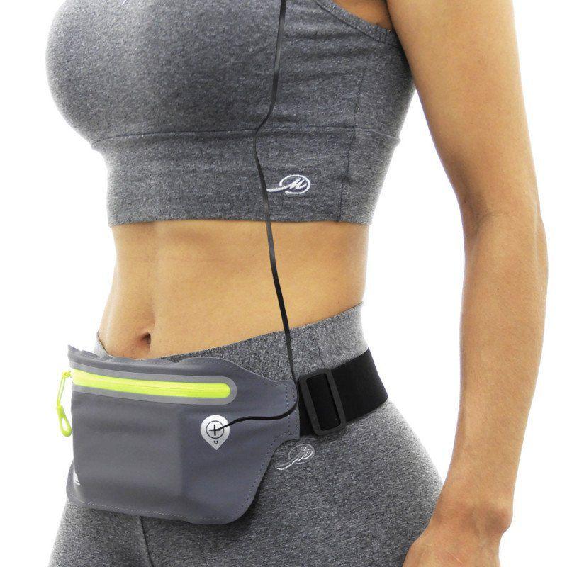 Pochete esportiva Ultra Slim Impermeável para Celular até 6.3 polegadas Kimaster AR80 Chumbo