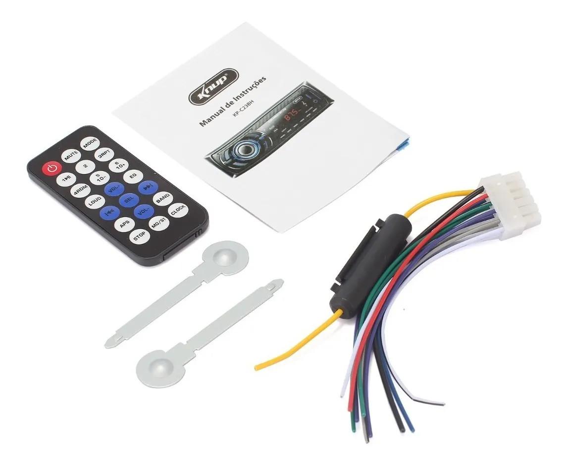 Radio Automotivo Bluetooth 240W RMS Entradas USB/RCA/P2 Microfone Integrado Controle Knup KP-C23BH