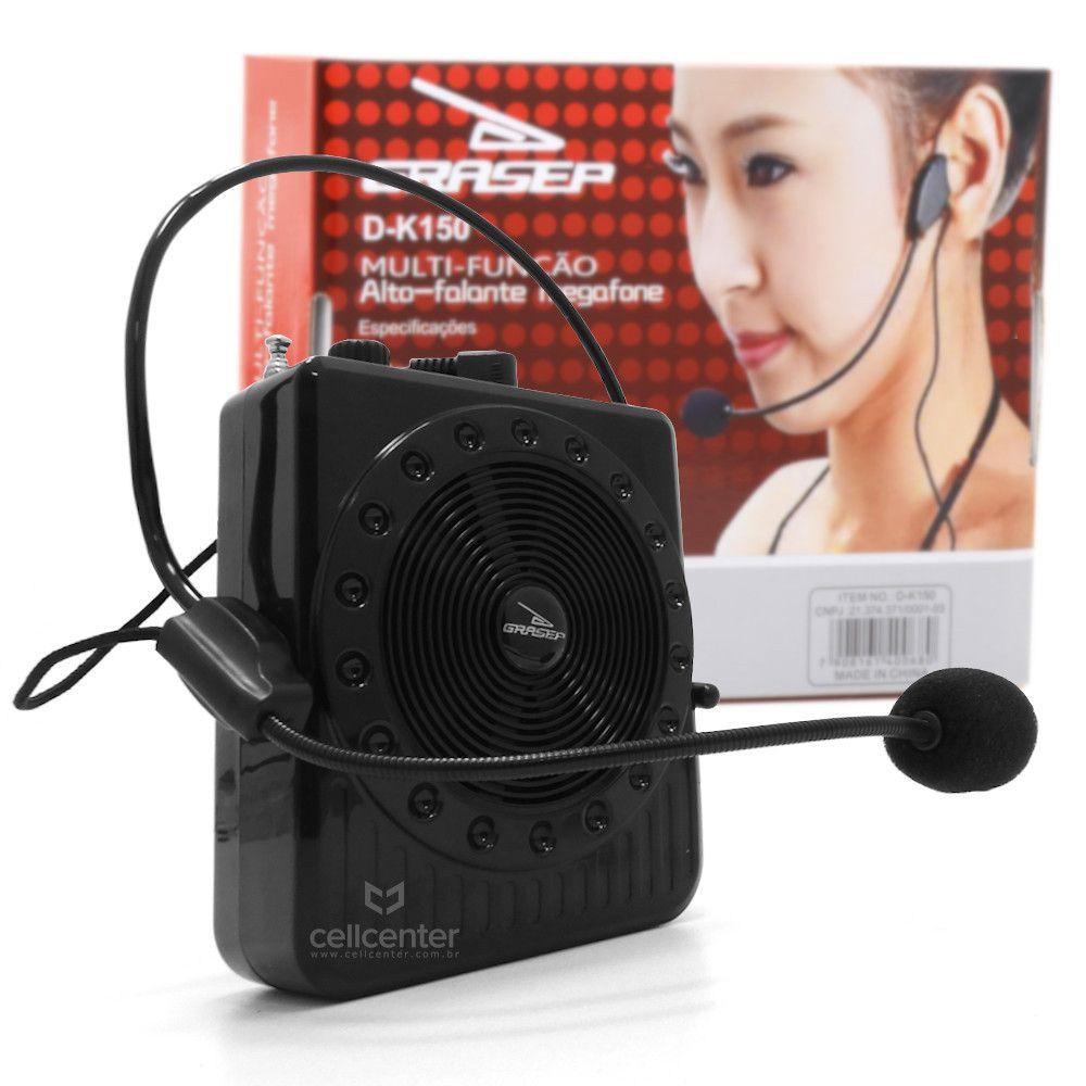 Radio Megafone Amplificador De Voz Com Microfone Multiuso Fm Usb Mp3 D-K150