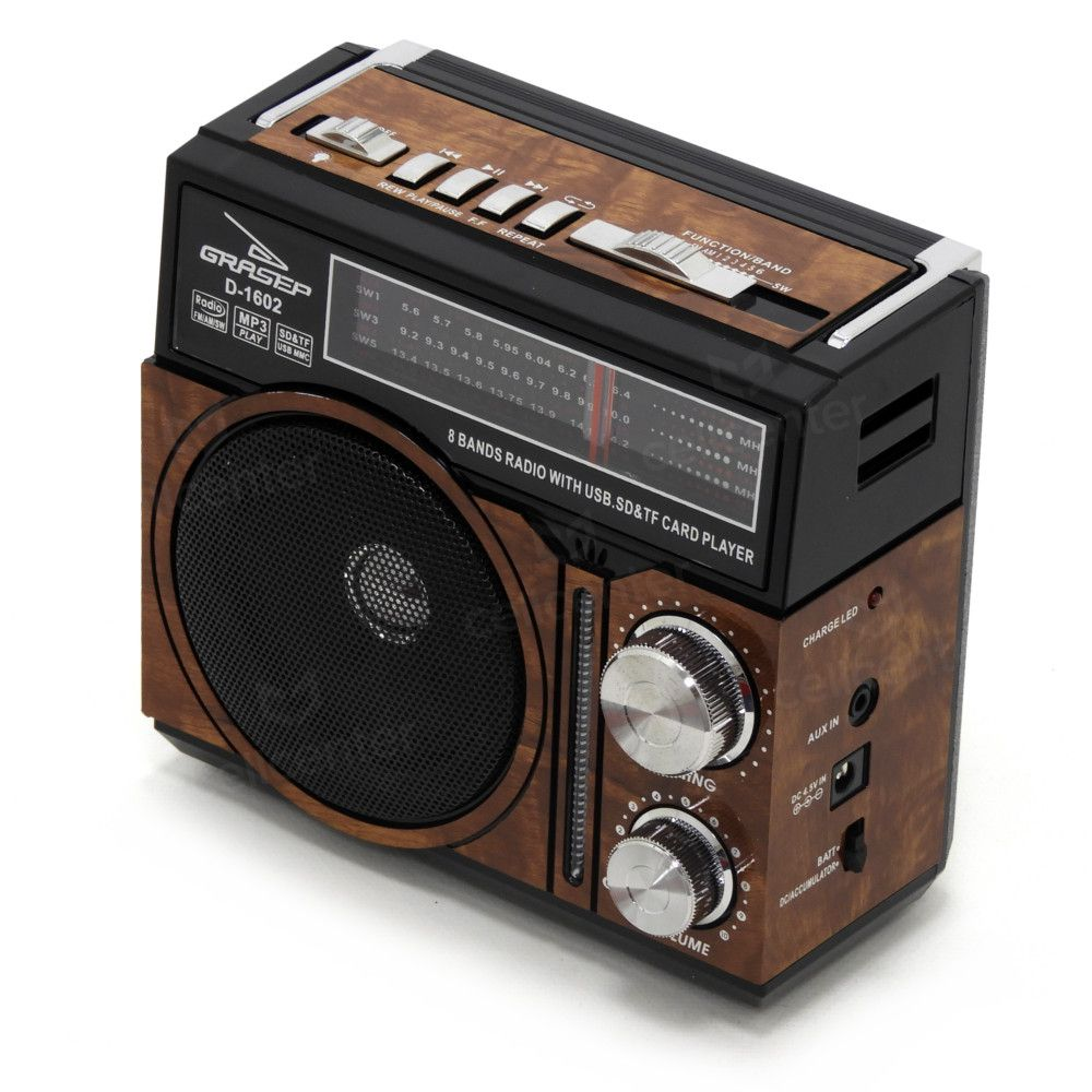 Radio Retrô Recarregável Am Fm Usb Sd Mp3 Bivolt Grasep D-1602