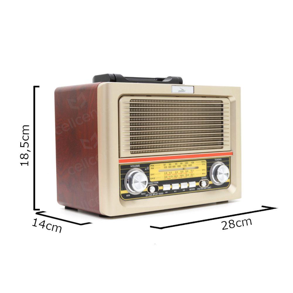 Rádio Retro Vintage Bluetooth 10W RMS Am Fm Sw Usb Bateria Recarregavel Entrada Aux e Sd Grasep D-F11