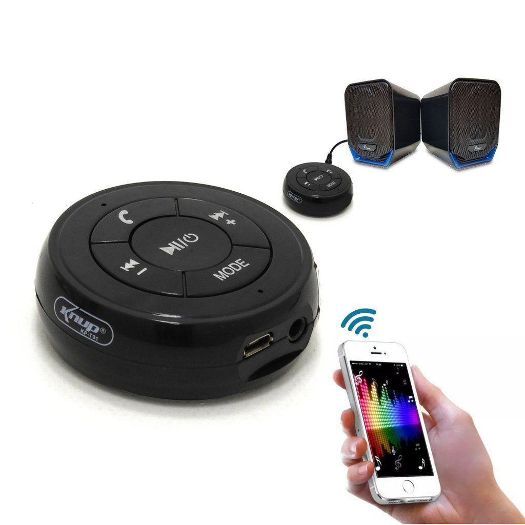 Receptor Bluetooth Portátil Para Som Conexão P2 Microfone Atende Ligação Recarregável Knup KP-T91