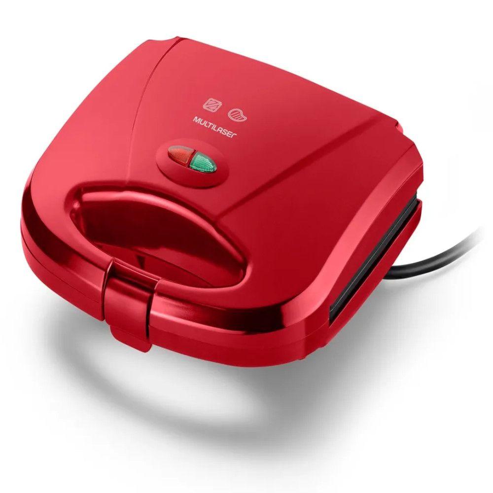Sanduicheira e Mini grill Multilaser 127V 750W Vermelha - CE148