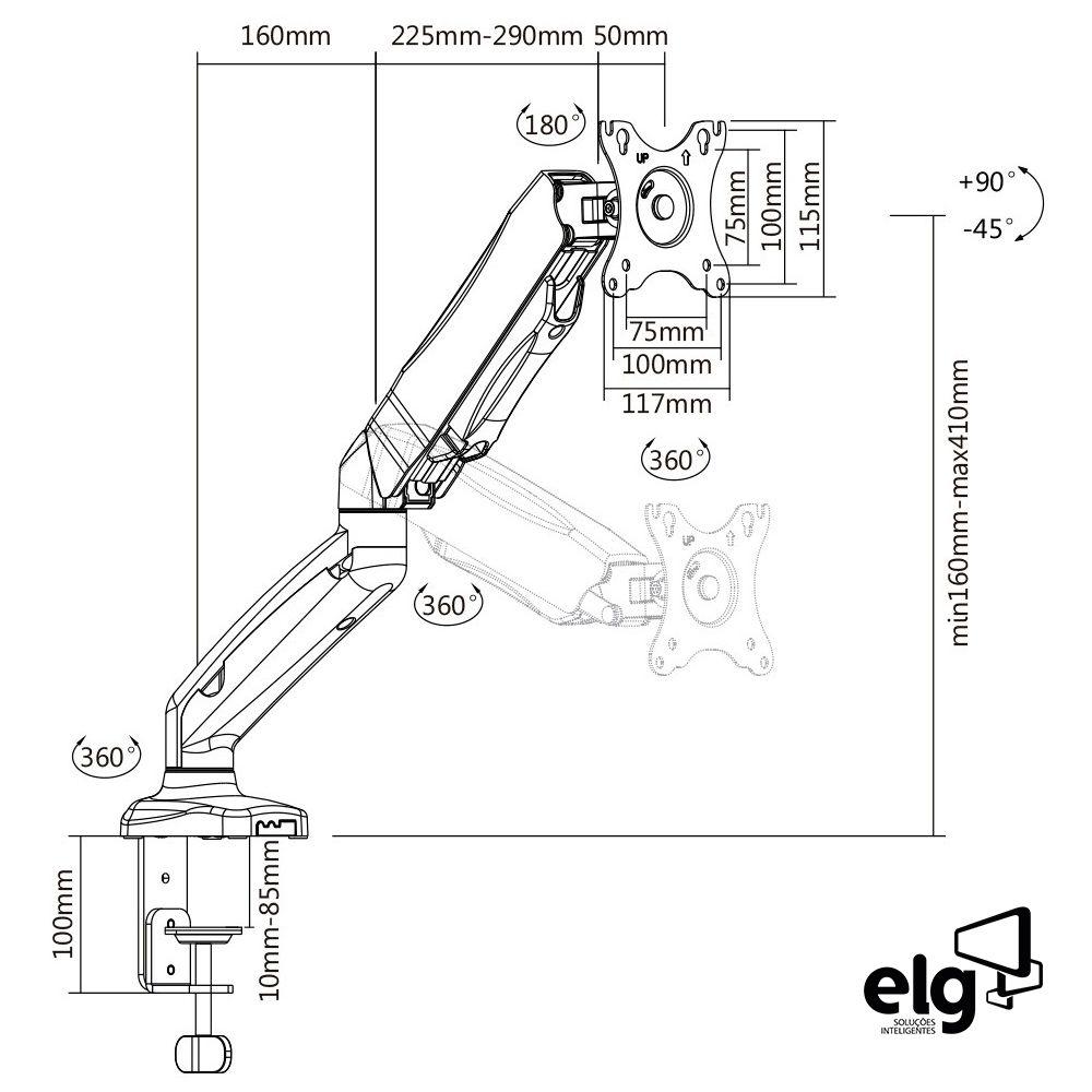 """Suporte Articulado de Mesa para Monitores 17"""" a 27"""" com Pistão a Gás e Ajuste de Altura - F80N ELG"""