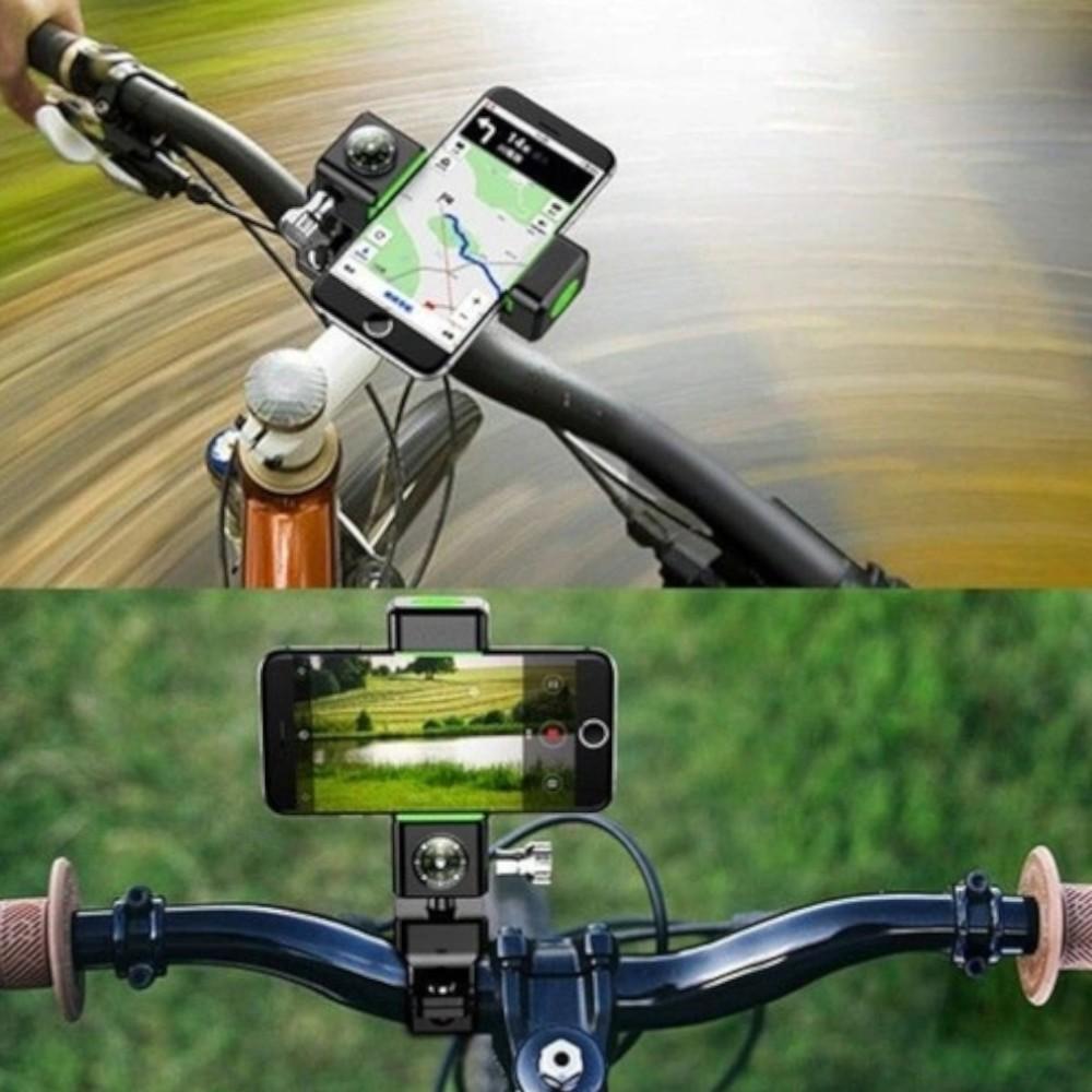 Suporte de celular com bússola para bicicleta moto e patinetes com ajuste
