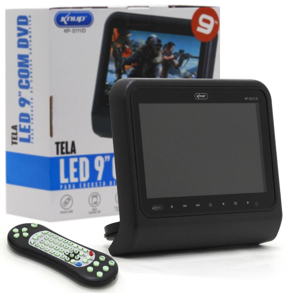 """Tela LED 9"""" com DVD automotivo CD 32 Jogos e controle Knup KP-S111/D"""