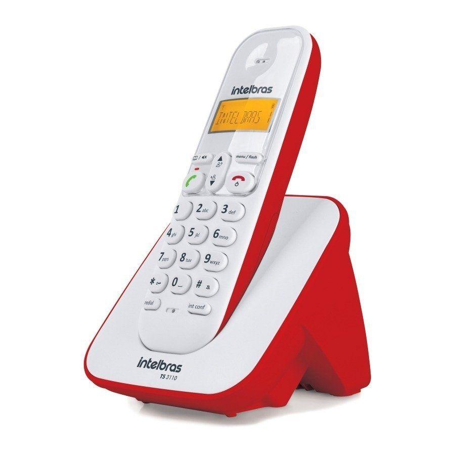 1348b7302 Telefone Sem Fio Mesa Bina Identificador Intelbras Ts3110 Brnaco Vermelho