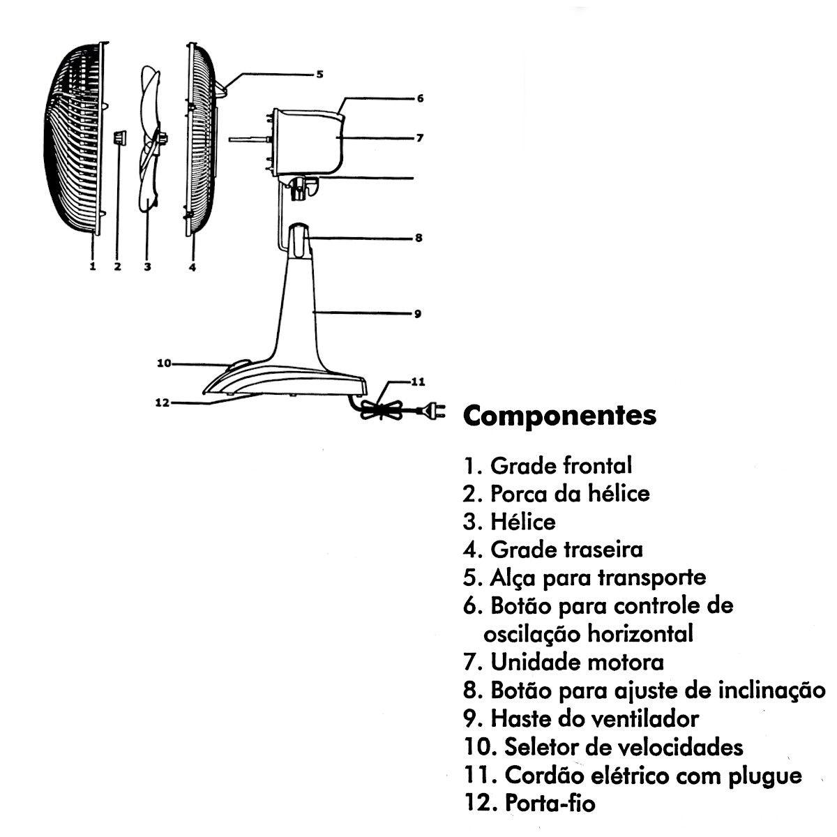 Ventilador de Mesa Mega Turbo 130W 40 127V 6 Pás Britânia Preto