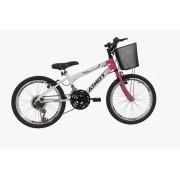 Bicicleta Athor Charmy Infantil Aro 20 C/ Machas 18v - Branca Rosa
