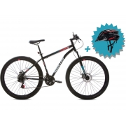 Bicicleta Houston Discovery Aro 29 Kit Shimano + Freio a Disco - Preto Tam:17 + Brinde Capacete Rava