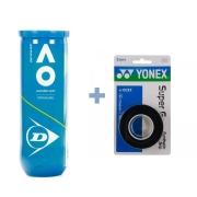 Bola de Tênis Dunlop  Australian Open C/ 3 Bolas + Overgrip Yonex
