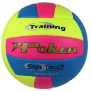 Bola de Vôlei Training Neon Tricolor Poker - Rosa/Azul