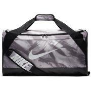 Bolsa Nike Brasilia Duffel Graphic Small 40L Preto/Cinza