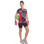 Camisa Ciclismo Kanxa Floral - Preto/Rosa