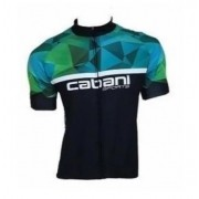Camisa de Ciclismo Cabani Full - Preto/Verde (Manga Curta)