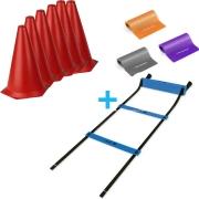 Combo 6 Cones/ Escada de agilidade /3 Faixas elásticas