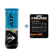 Bola de Tênis Dunlop  ATP Extra Duty C/ 3 Bolas + Overgrip Head