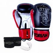 Kit Luva de Boxe/Muay Thai Pretorian First Preto Vermelho + Bandagem + Protetor bucal