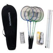 Kit Badminton com 4 Raquetes - 4 Petecas - Poste e Rede - Master