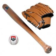Taco Beisebol Madeira Hyper Sports com Bola + Luva + bolsa
