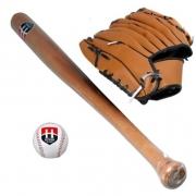 Kit Com 1  Taco de Baiseball  Madeira  1 Bola e 1 Luva Hyper Sport