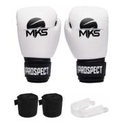 Kit Luva Boxe Thai Prospect Mks Branca + Bandagem + Protetor Bucal