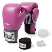 Kit Luva de Boxe Everlast Training Rosa + Bandagem + Protetor bucal