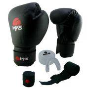 Kit Luva de Boxe MKS Preto + Bandagem + Protetor bucal