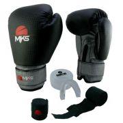 Kit Luva de Boxe MKS Preto Prata + Bandagem + Protetor bucal